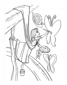 Coloring page tangled for kids