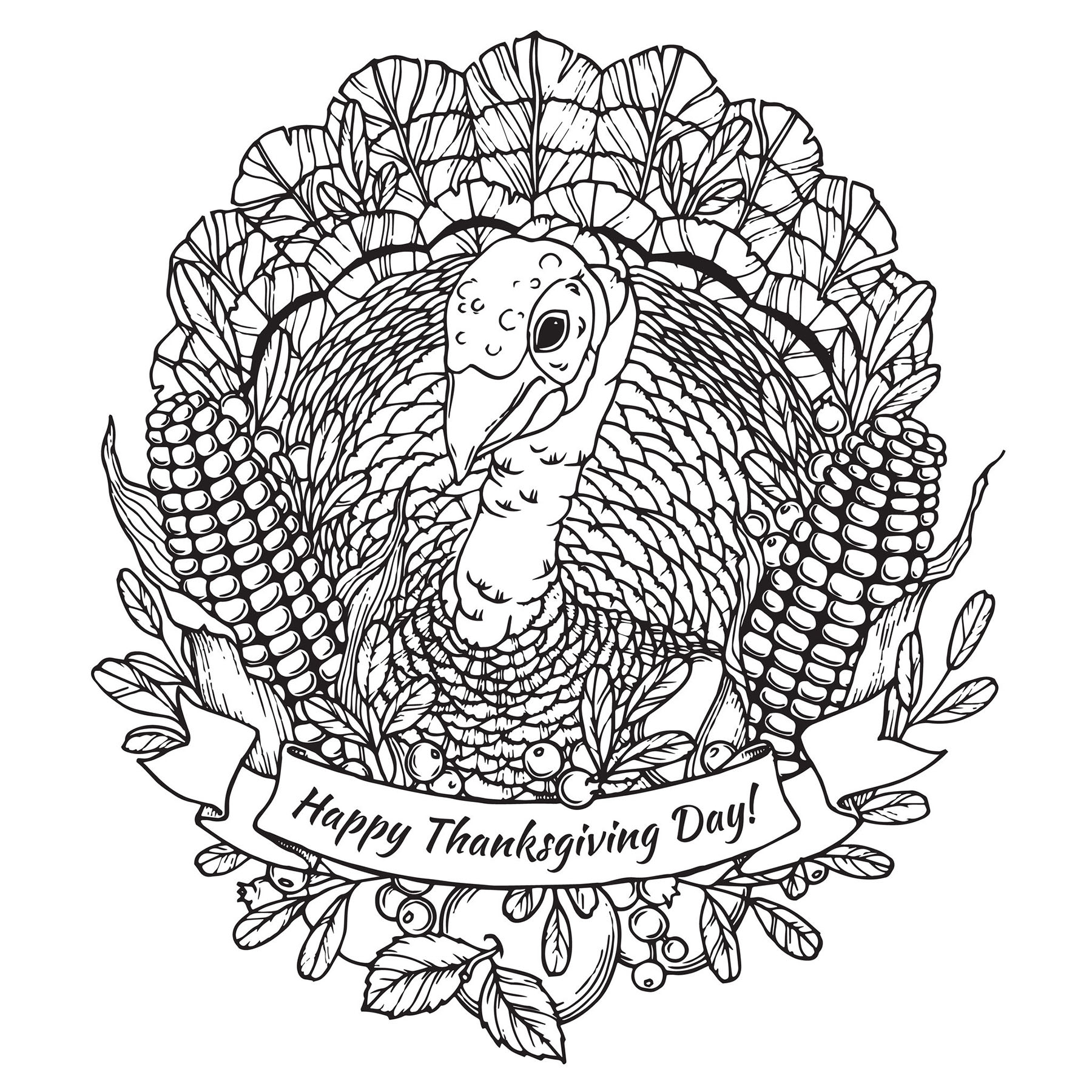 Thanksgiving coloring page to print and color