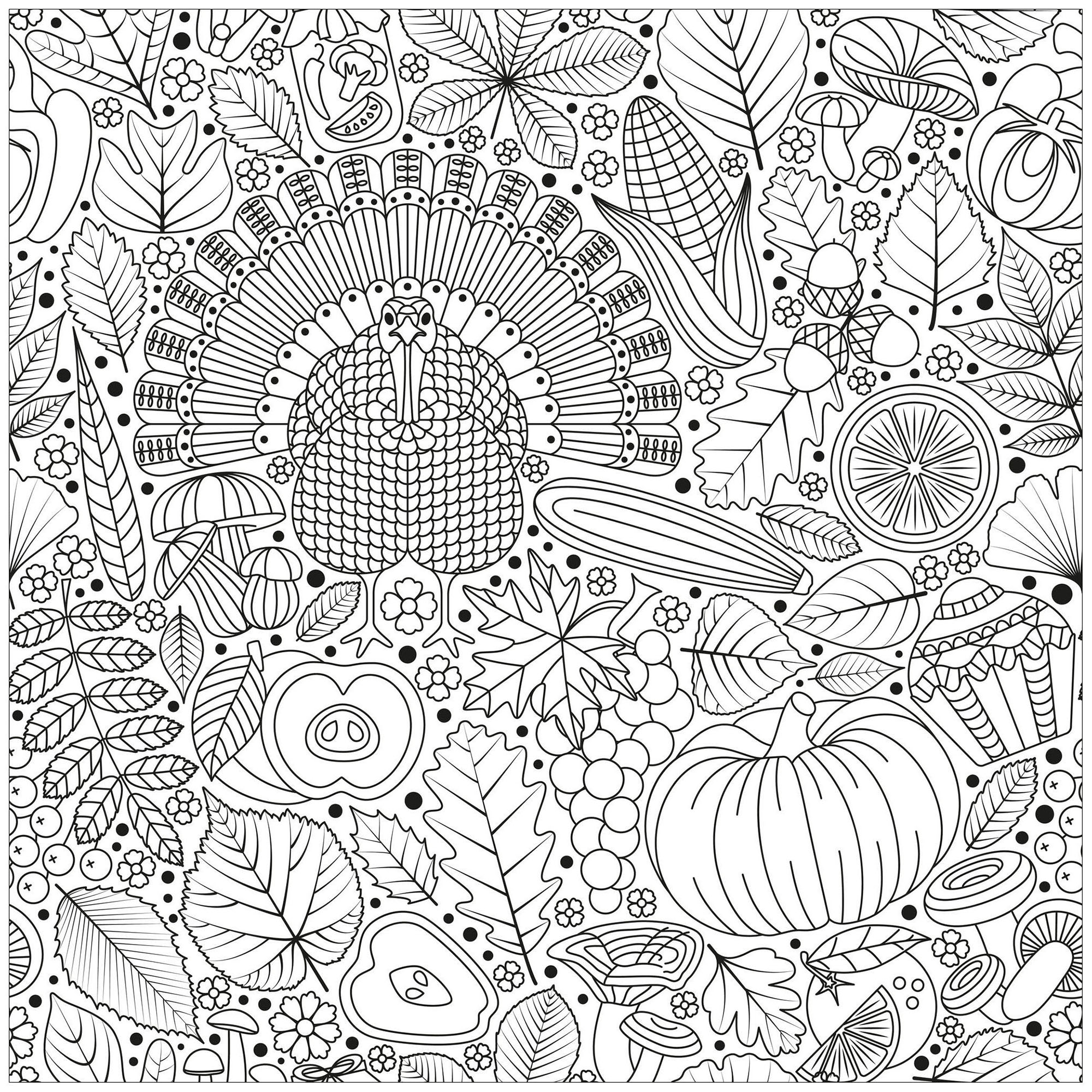 Free Thanksgiving coloring page to print and color, for kids