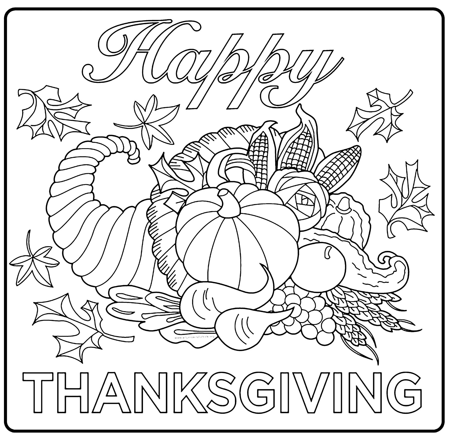 Thanksgiving free to color for children - Thanksgiving Kids Coloring ...