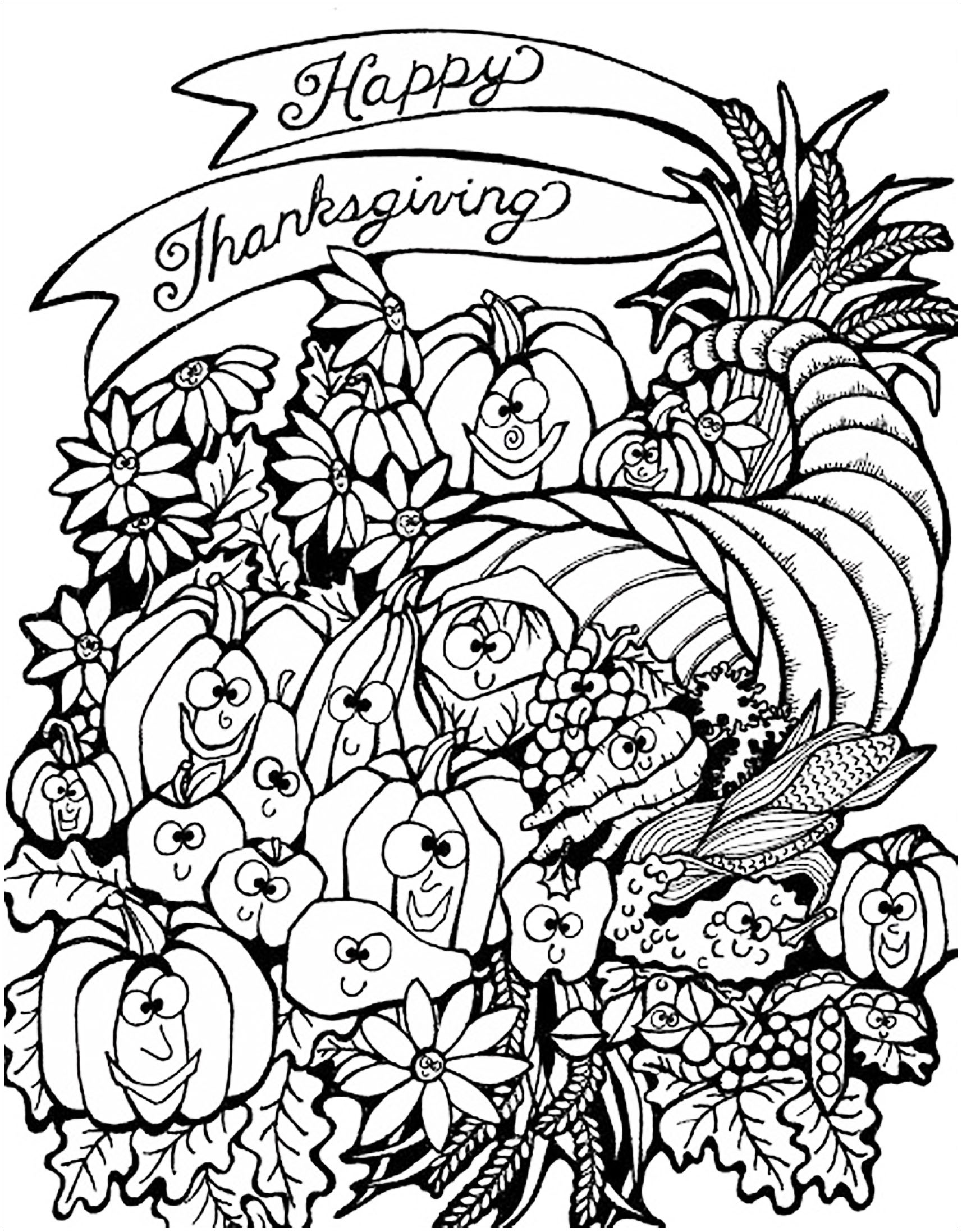 Thanksgiving for kids - Thanksgiving Kids Coloring Pages