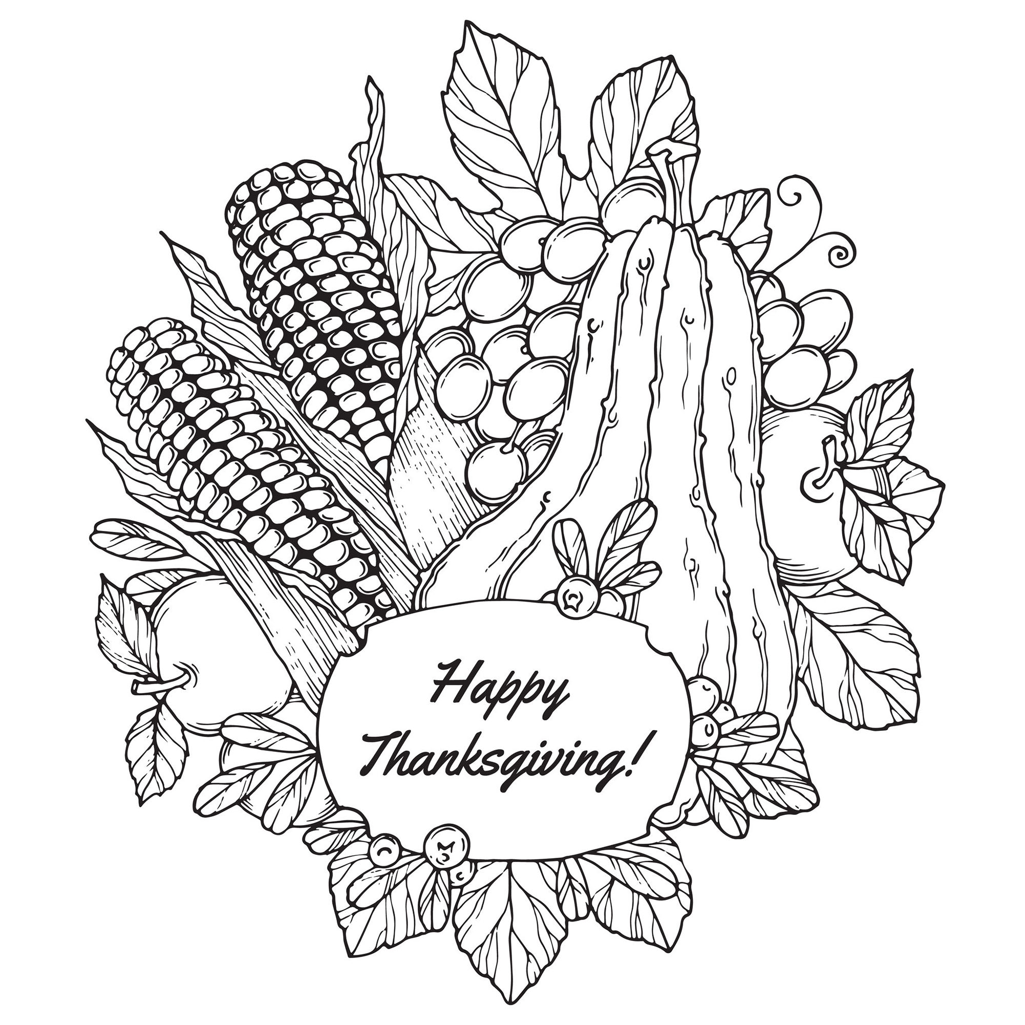 Simple Thanksgiving coloring page to print and color for free