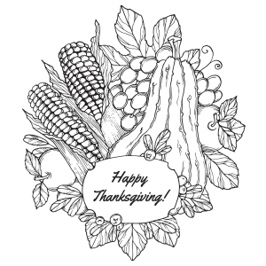 Coloring page thanksgiving to color for kids