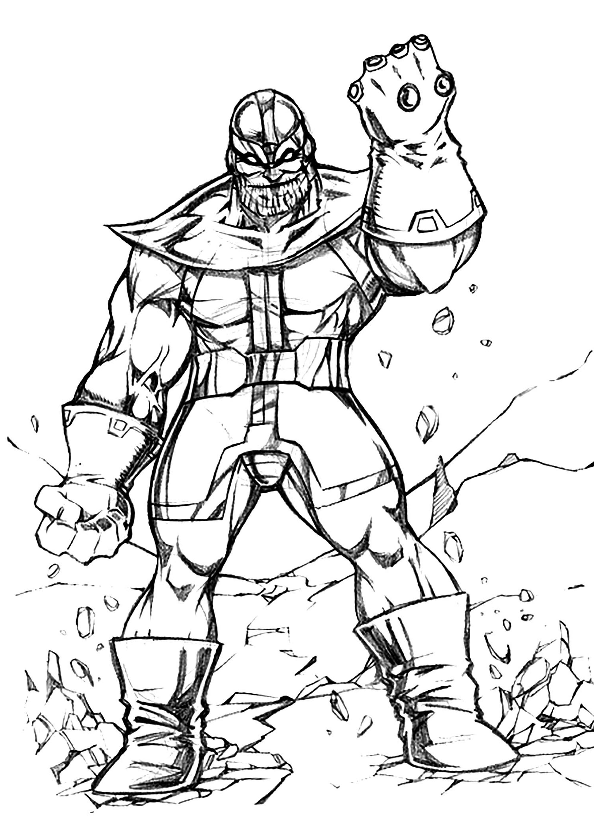Thanos coloring page to download for free