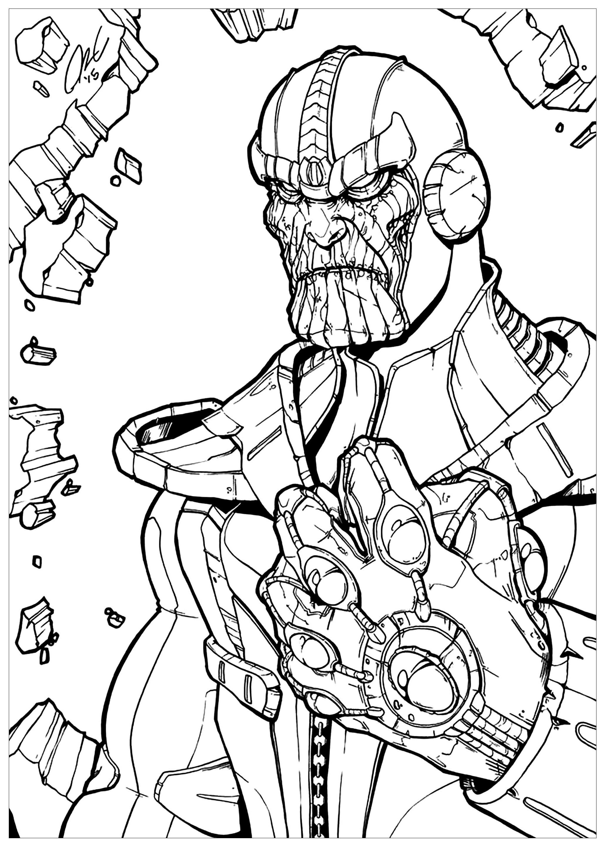 Cute free Thanos coloring page to download