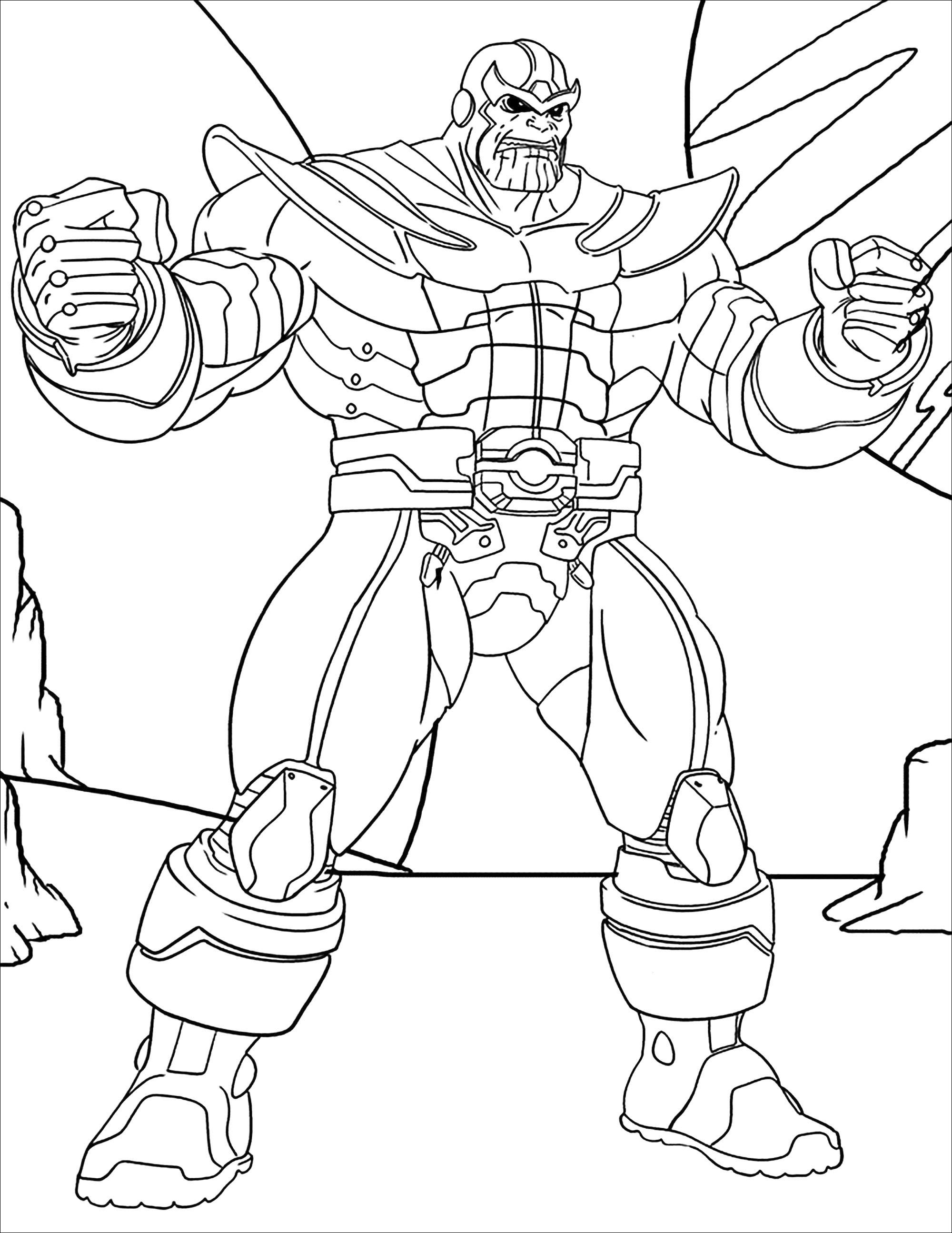Funny free Thanos coloring page to print and color