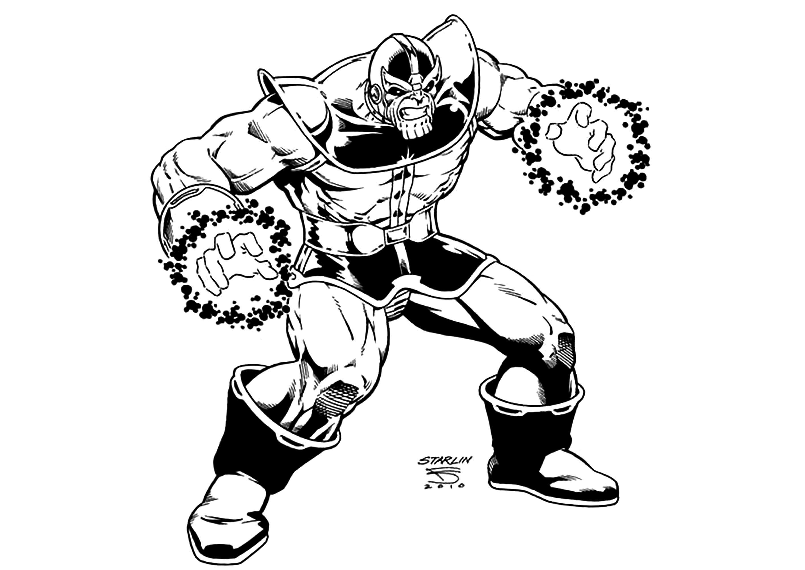 Simple Thanos coloring page to download for free