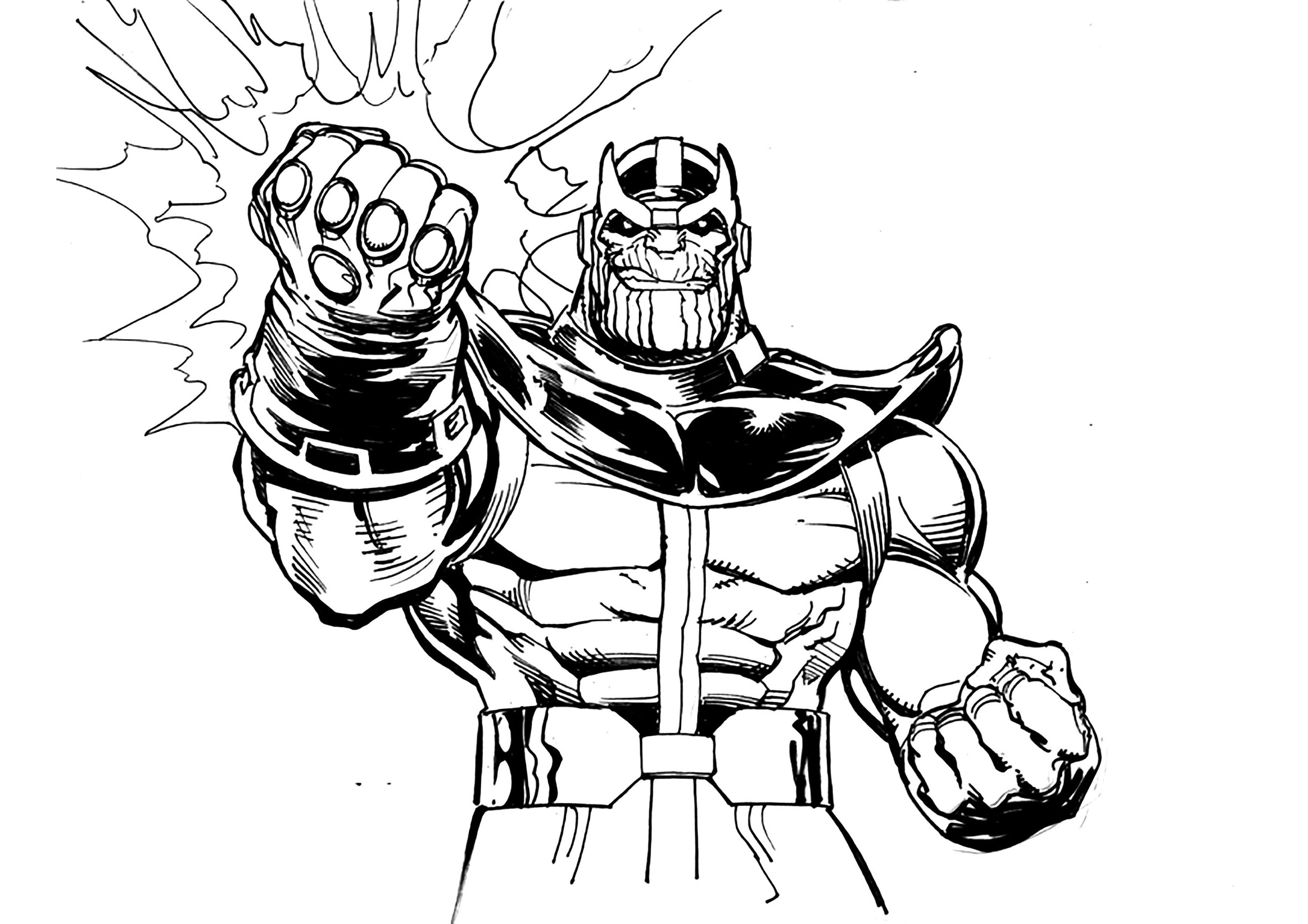 Easy free Thanos coloring page to download