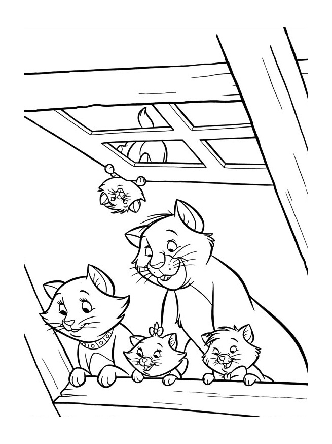 Funny free The Aristocats coloring page to print and color