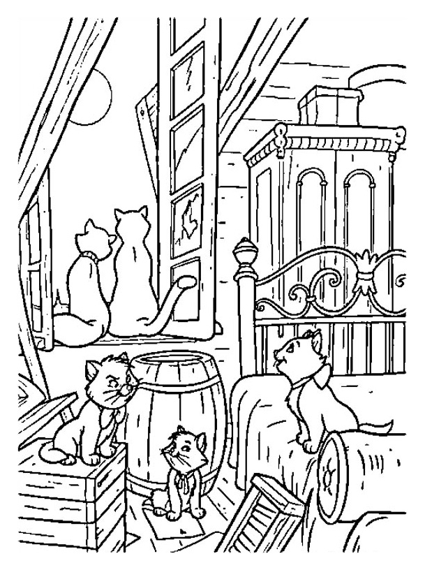 Simple free The Aristocats coloring page to print and color