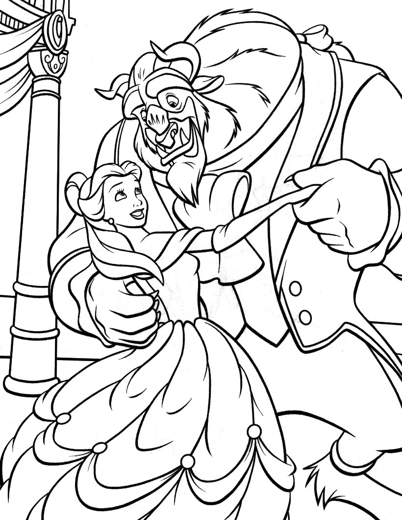 The Beauty And The Beast coloring page to download for free