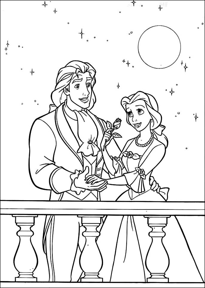 Simple free The Beauty And The Beast coloring page to print and color