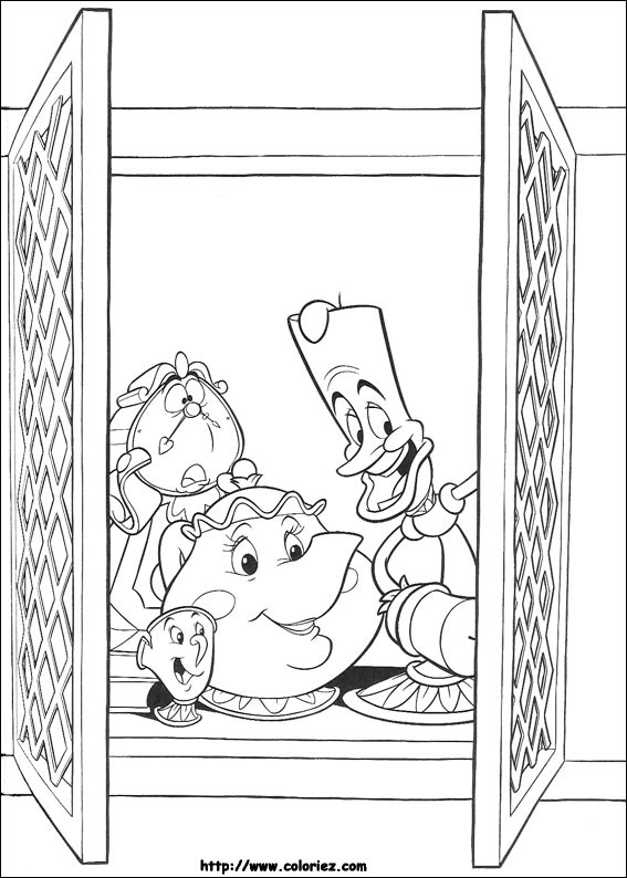 Free The Beauty And The Beast coloring page to download, for children