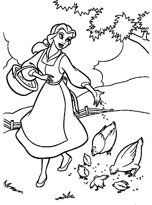Easy free The Beauty And The Beast coloring page to download