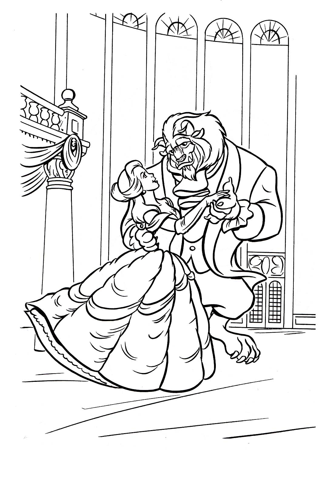 Simple The Beauty And The Beast coloring page to print and color for free
