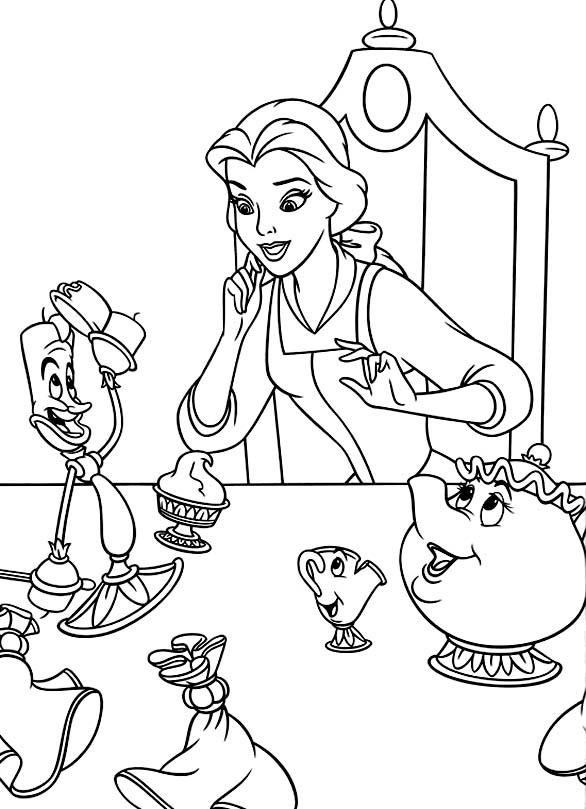 Funny free The Beauty And The Beast coloring page to print and color