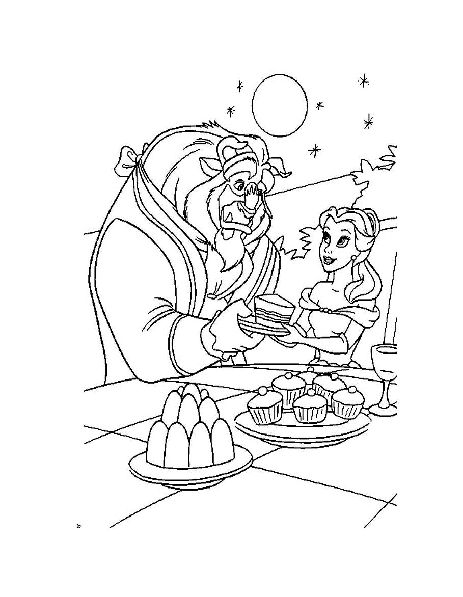 Free The Beauty And The Beast coloring page to print and color, for kids