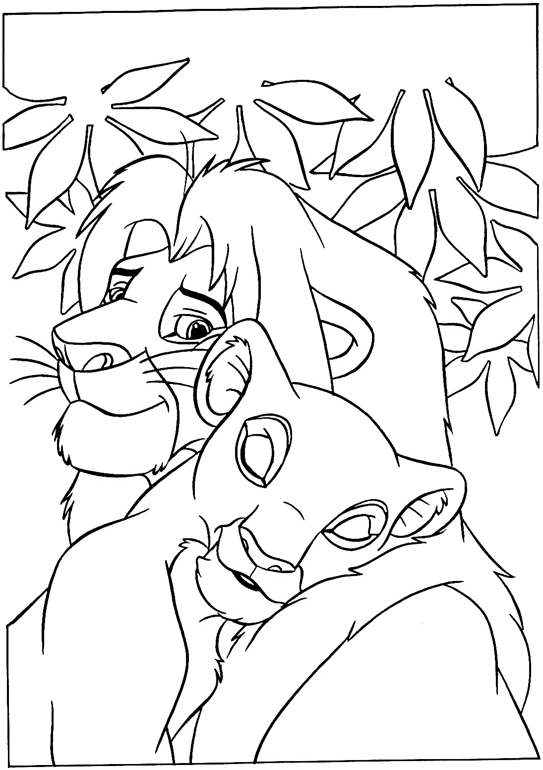 Lovely coloring page of Mufasa with Nala the parents of Simba