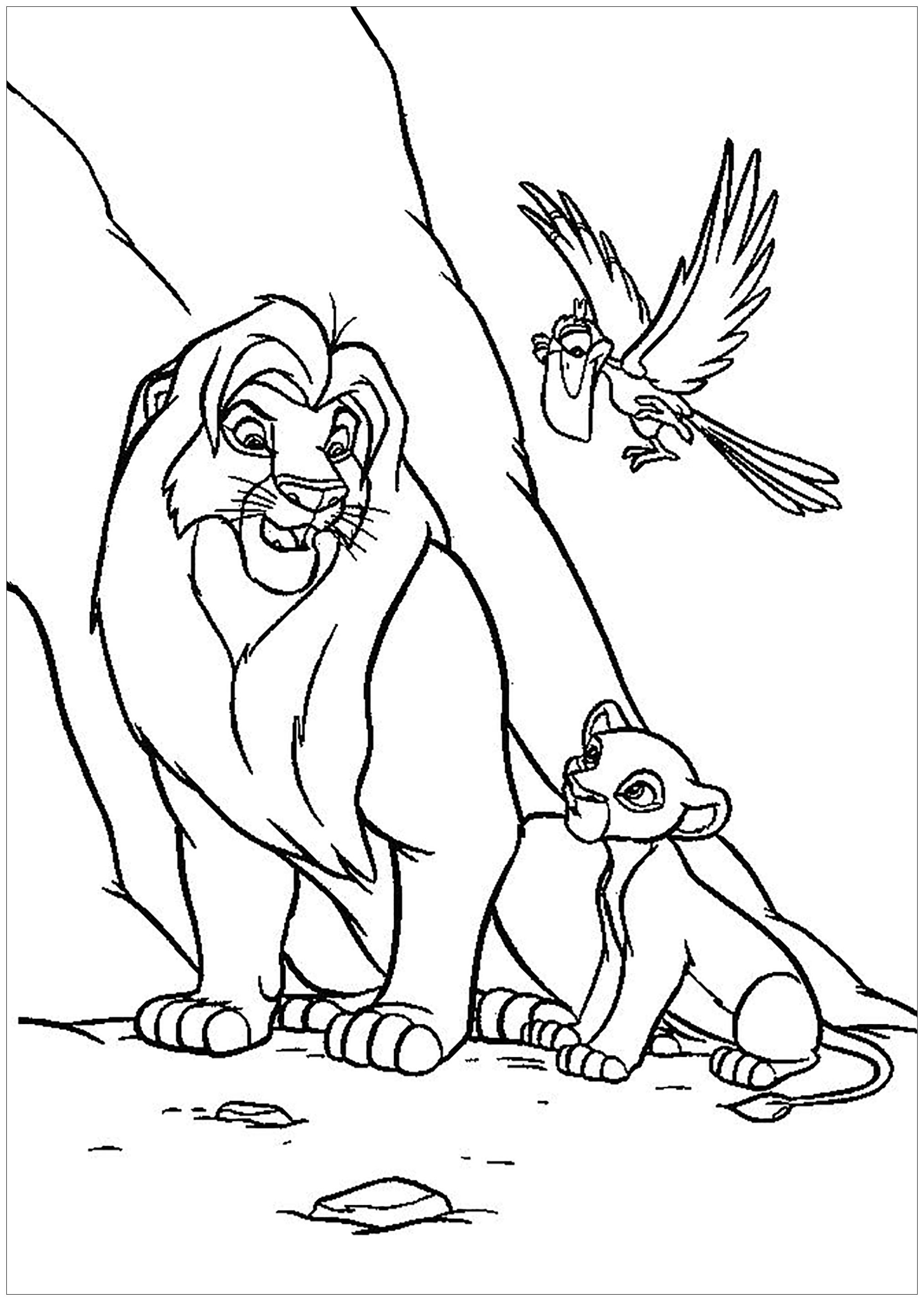 Lion King Coloring Page With Mufasa Simba And Zazu The Lion