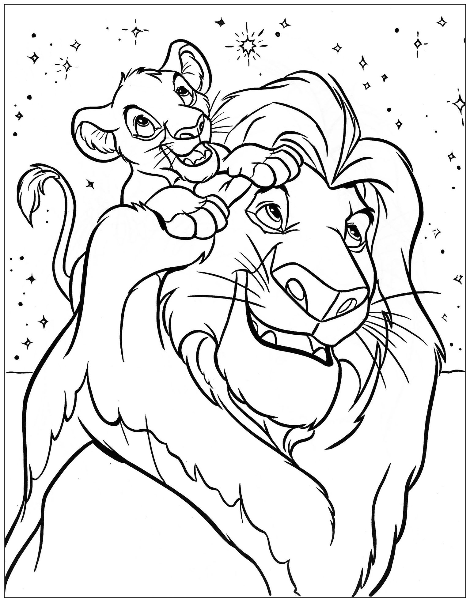 Color the Lion King Mufasa with his son Simba