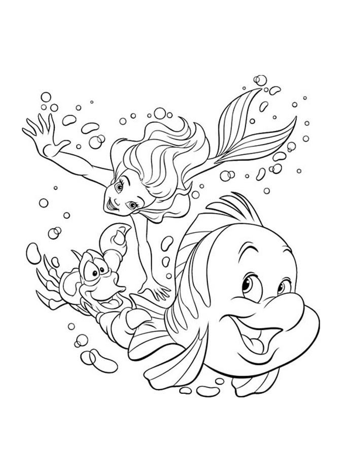 - The Little Mermaid To Color For Children - The Little Mermaid Kids Coloring  Pages