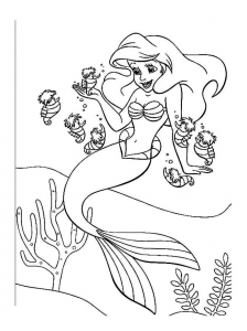 Coloring page the little mermaid free to color for kids