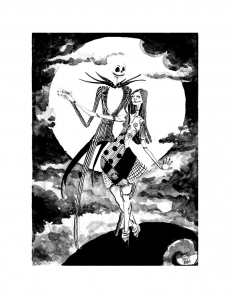 Coloring page the nightmare before christmas to print for free