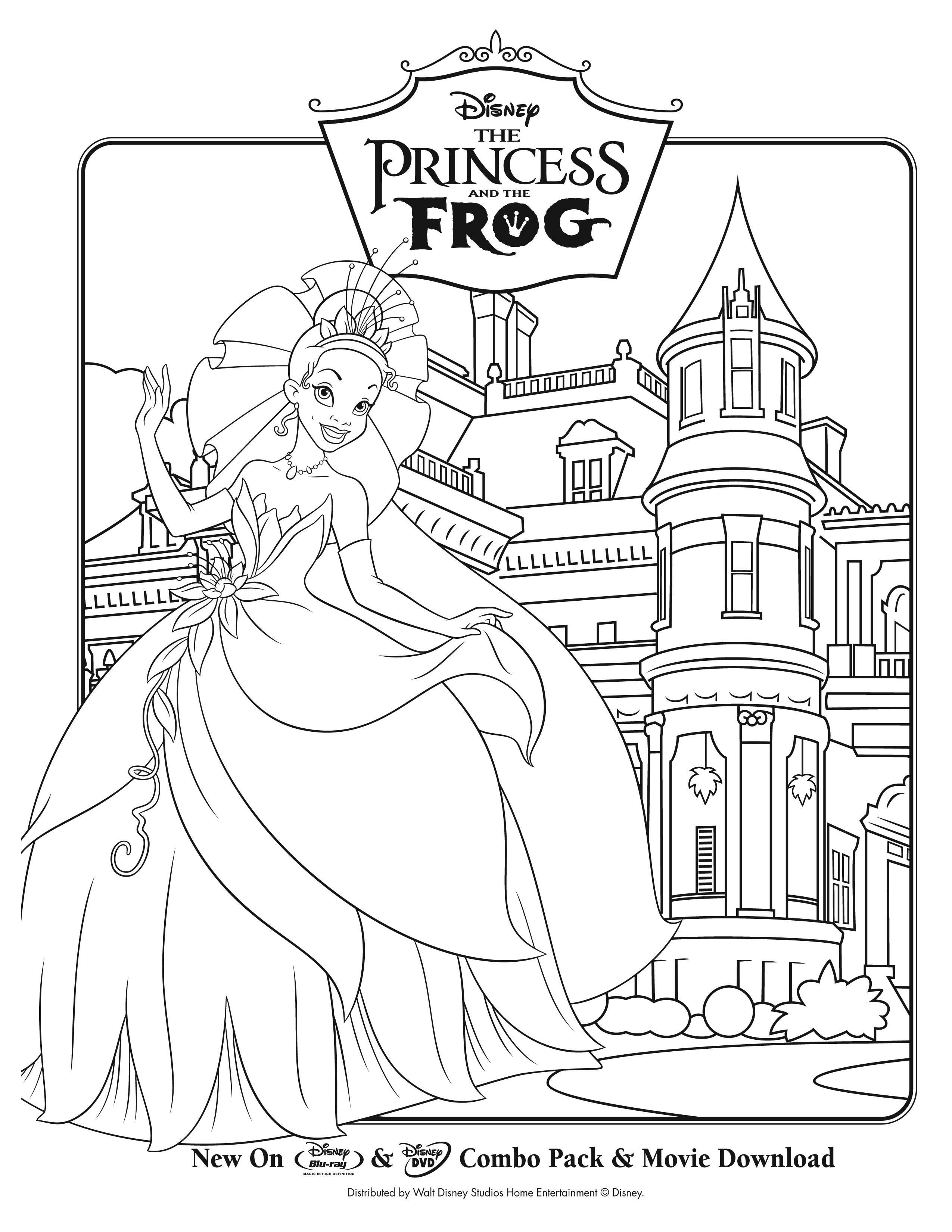 Funny free The Princess And The Frog coloring page to print and color