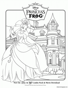 Coloring page the princess and the frog to download for free
