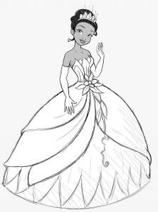 Coloring page the princess and the frog for kids