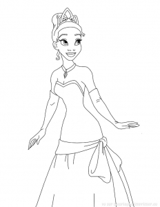 Coloring page the princess and the frog for children
