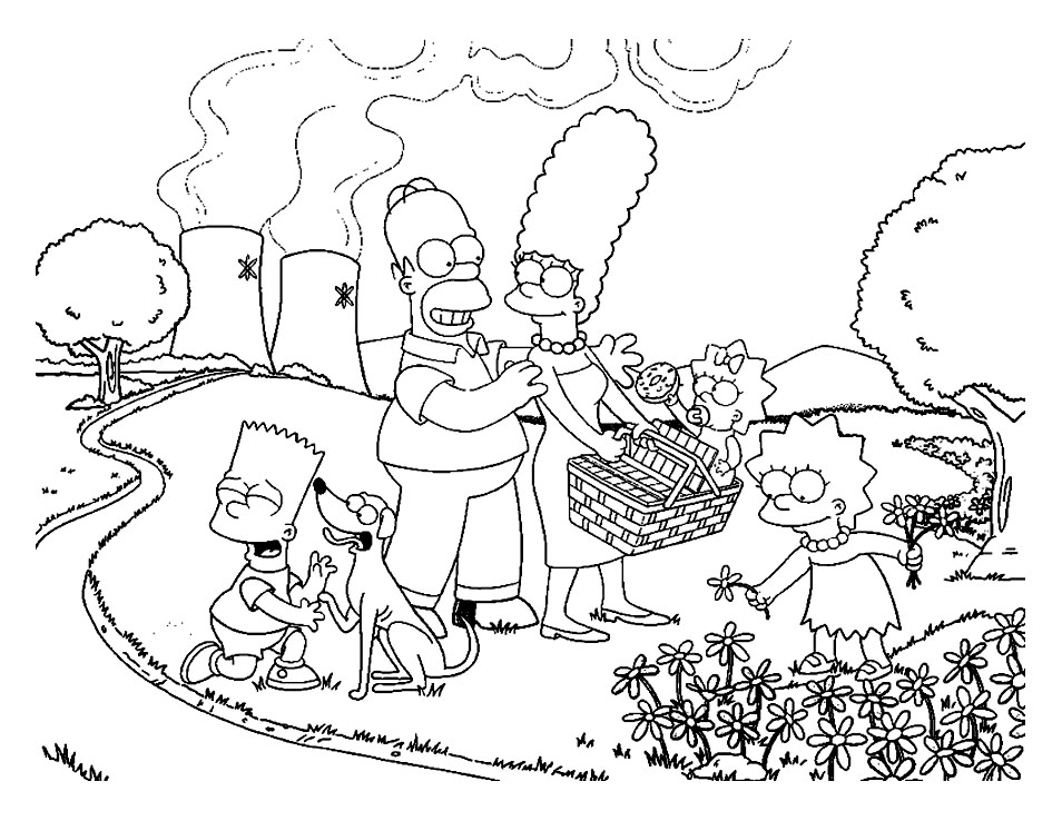 Funny The Simpsons coloring page for kids