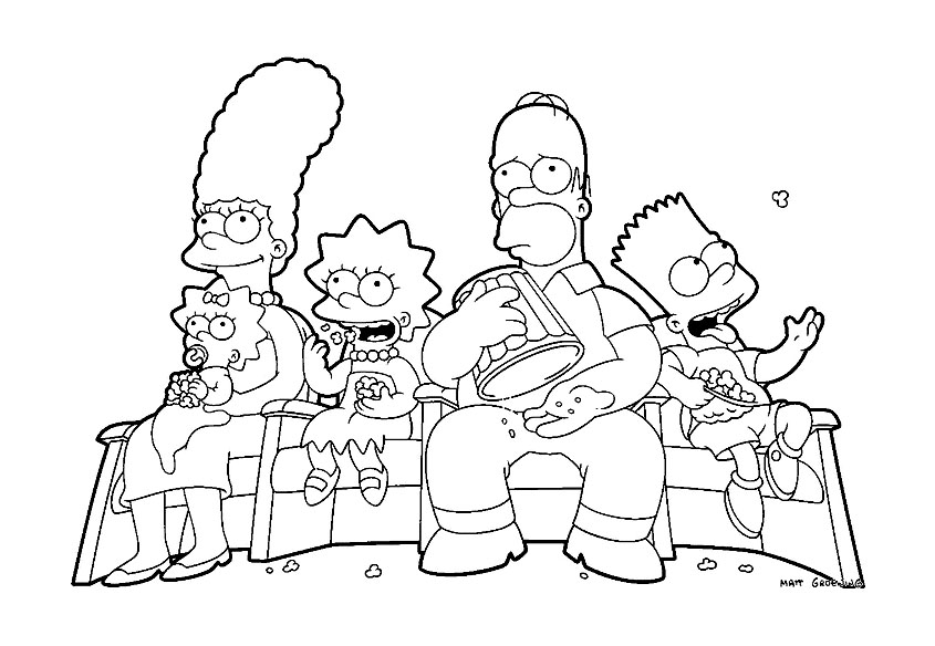 Simple The Simpsons coloring page
