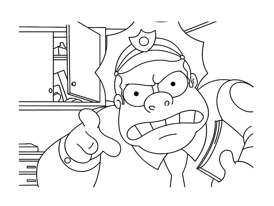 Funny free The Simpsons coloring page to print and color