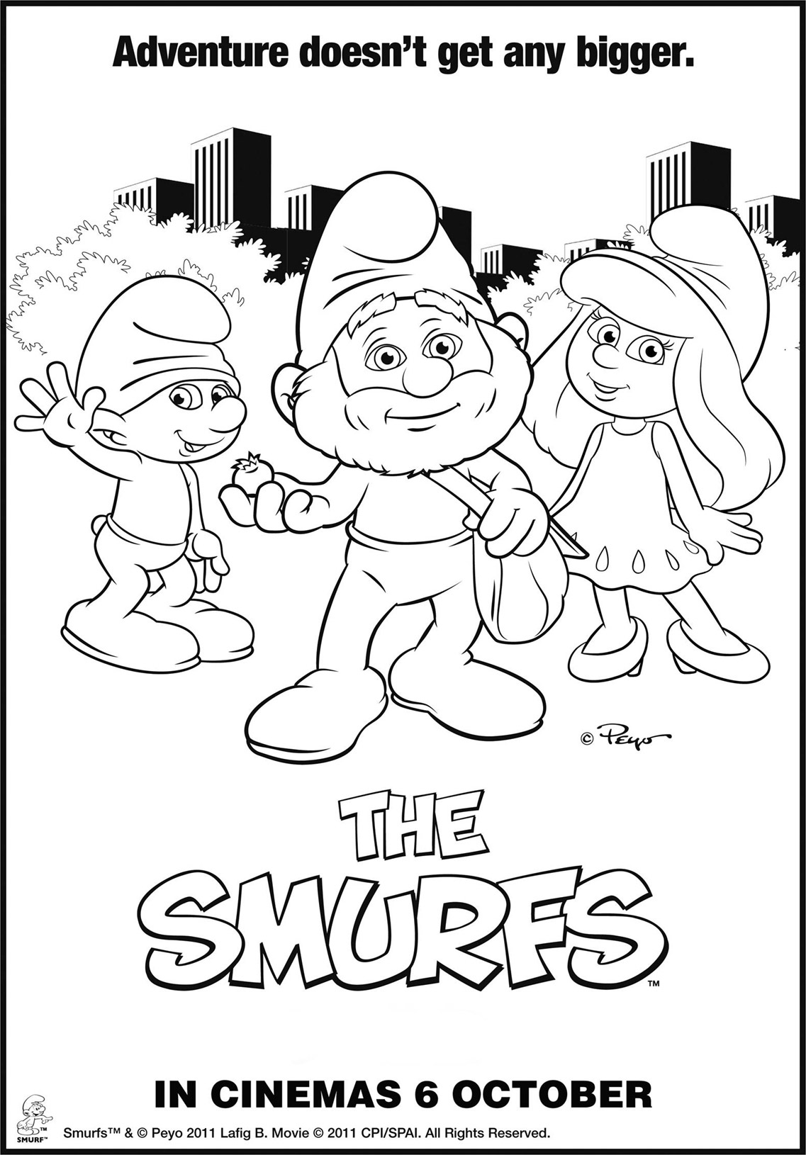 The Smurfs Coloring Page To Print And Color For Free