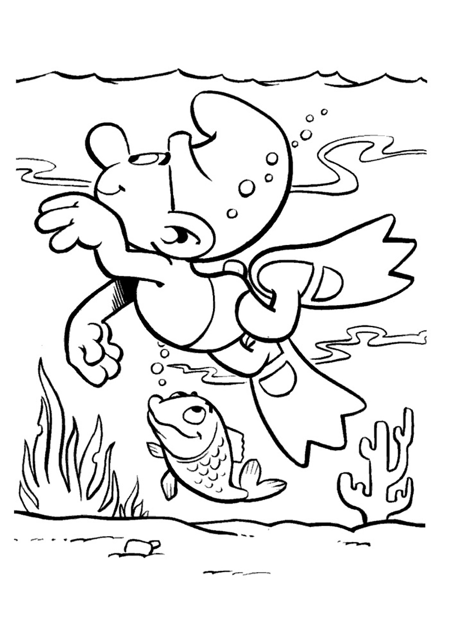 Cute free The Smurfs coloring page to download