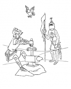 Coloring page the sword in the stone for kids