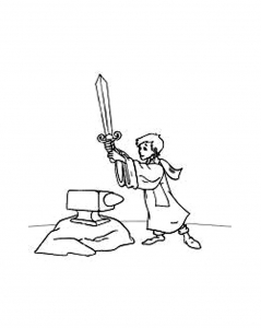 Coloring page the sword in the stone to print for free