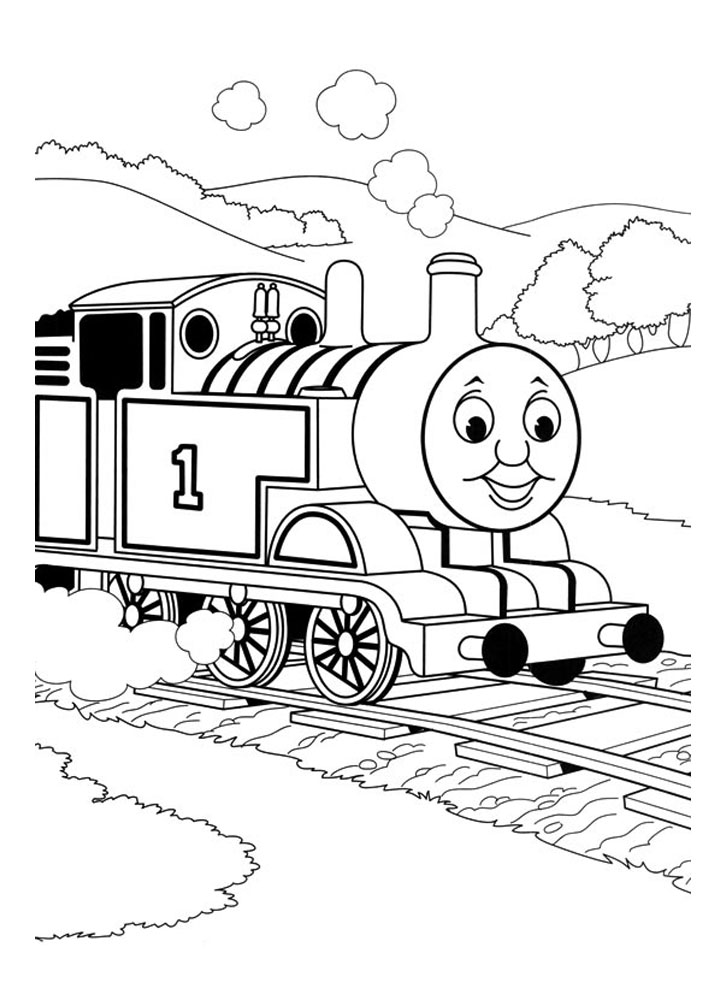 Funny Thomas And Friends coloring page for children