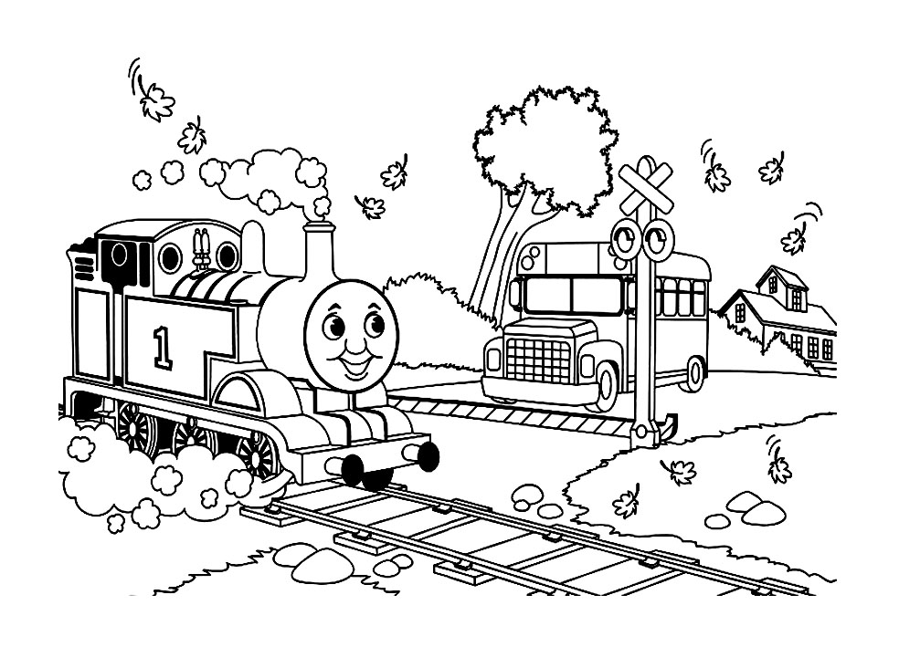Simple Thomas And Friends coloring page to print and color for free