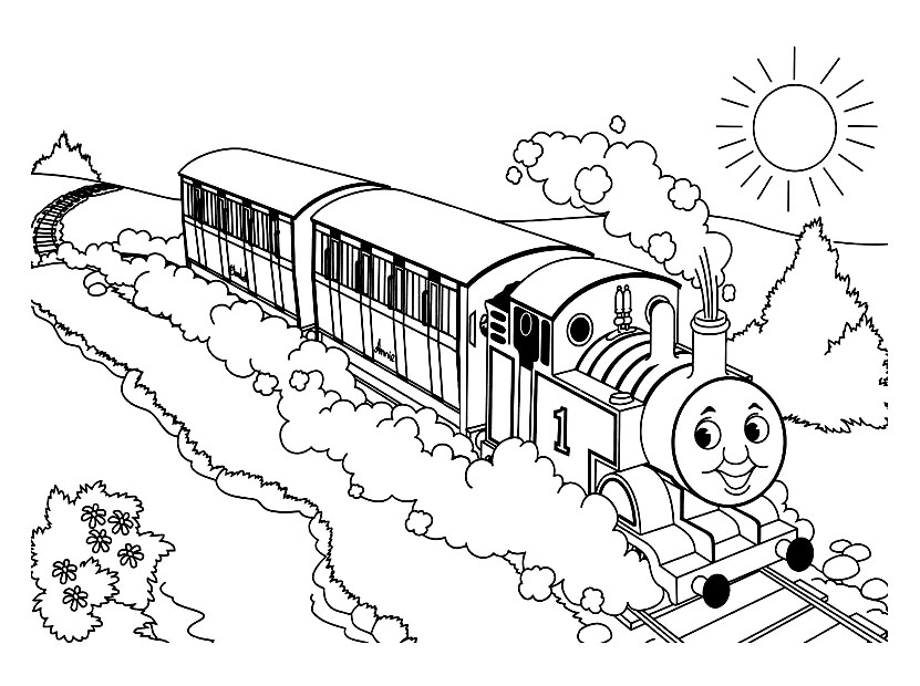 Easy free Thomas And Friends coloring page to download