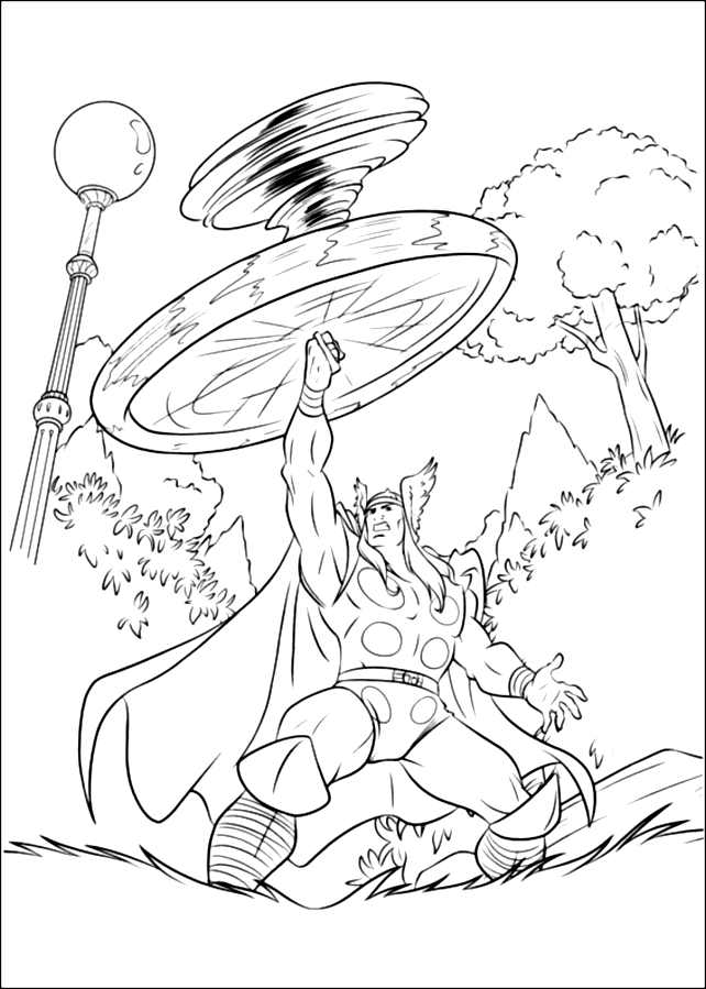 Thor coloring page to print and color