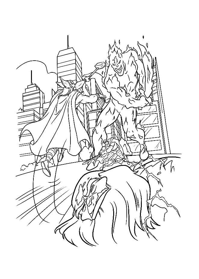 Funny Thor coloring page for children