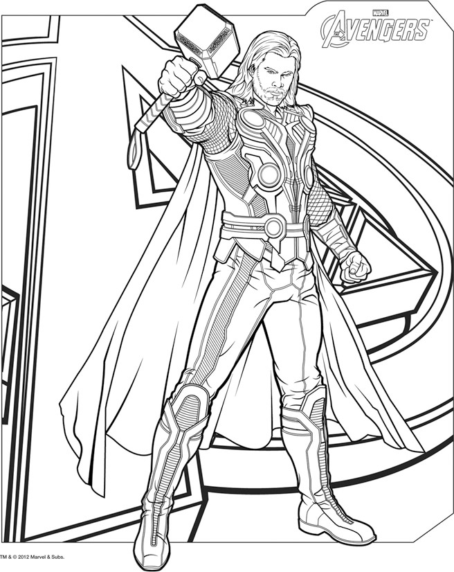 Thor coloring page to download for free