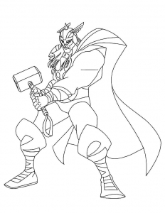 Coloring page thor to color for children