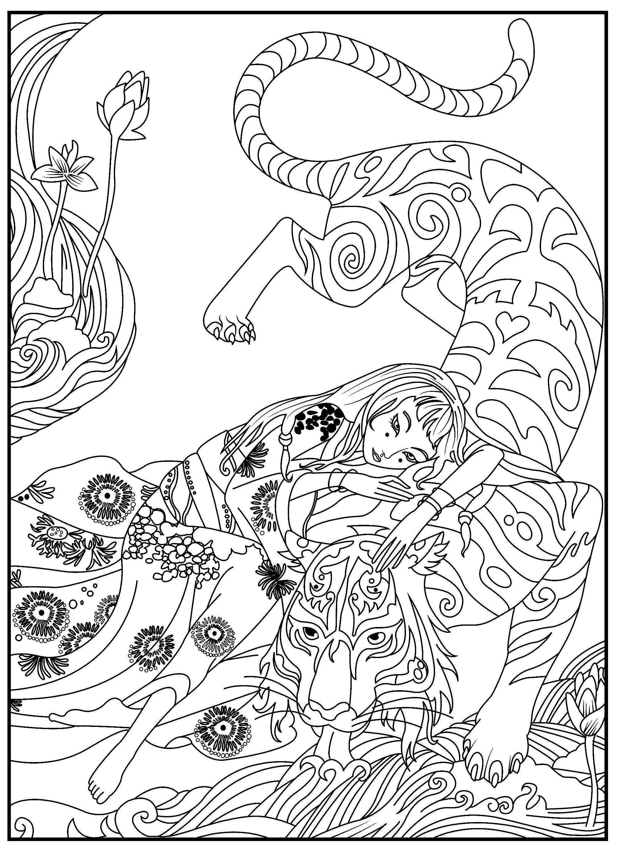 Tigers coloring page with few details for kids