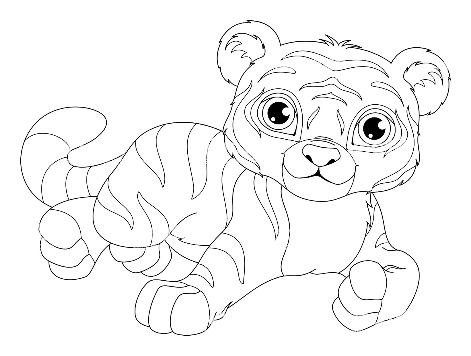 Tigers to color for kids - Tigers Kids Coloring Pages
