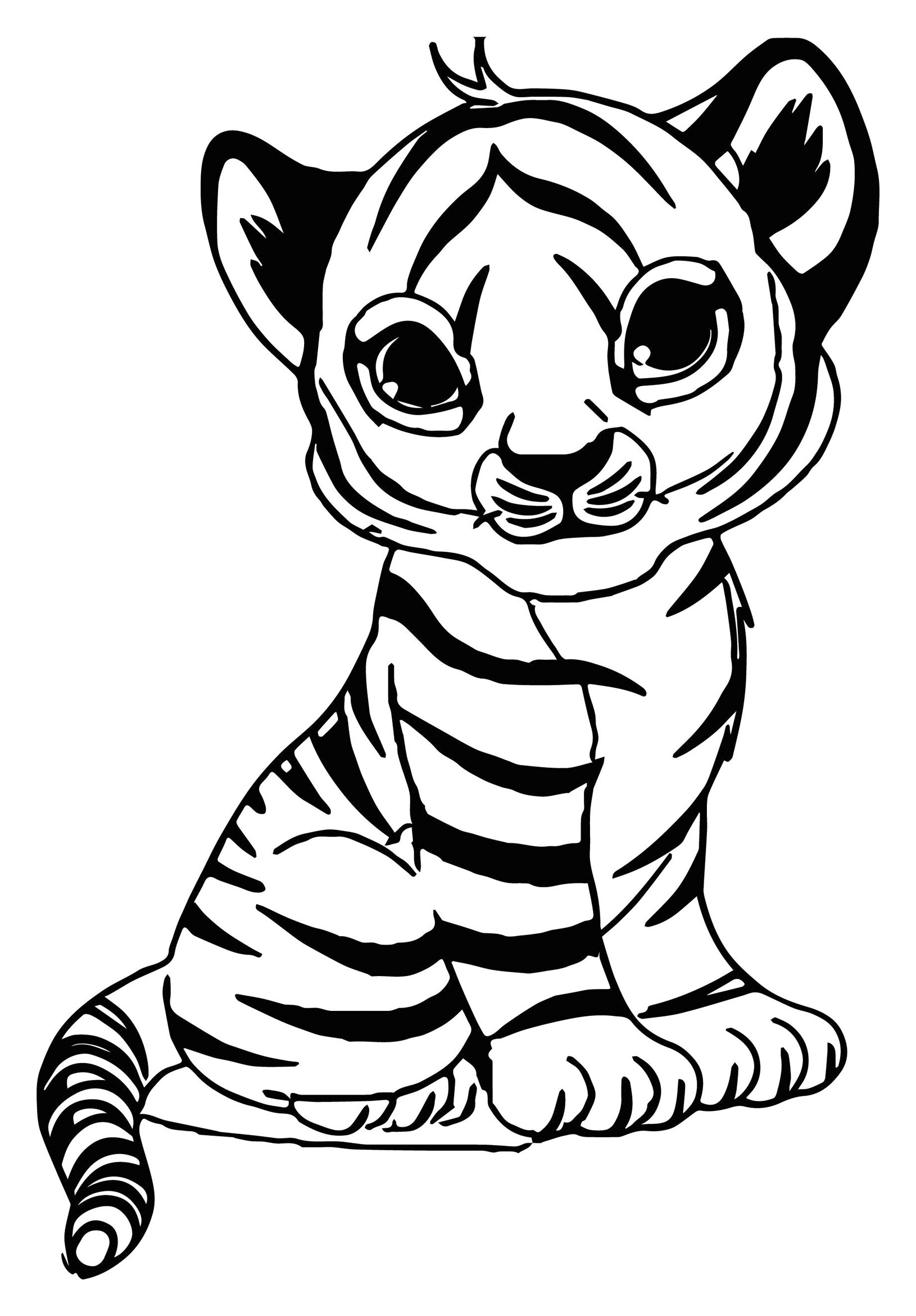 Simple Tigers coloring page