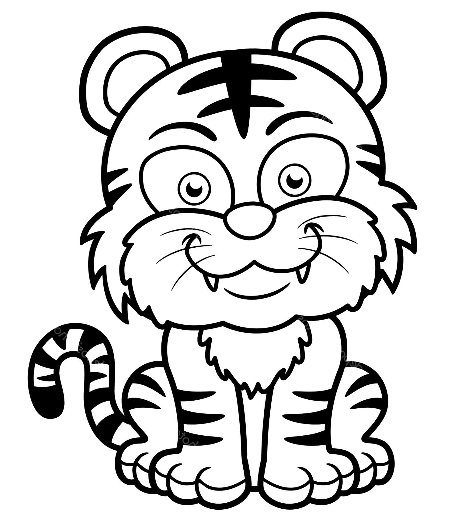 Funny free Tigers coloring page to print and color
