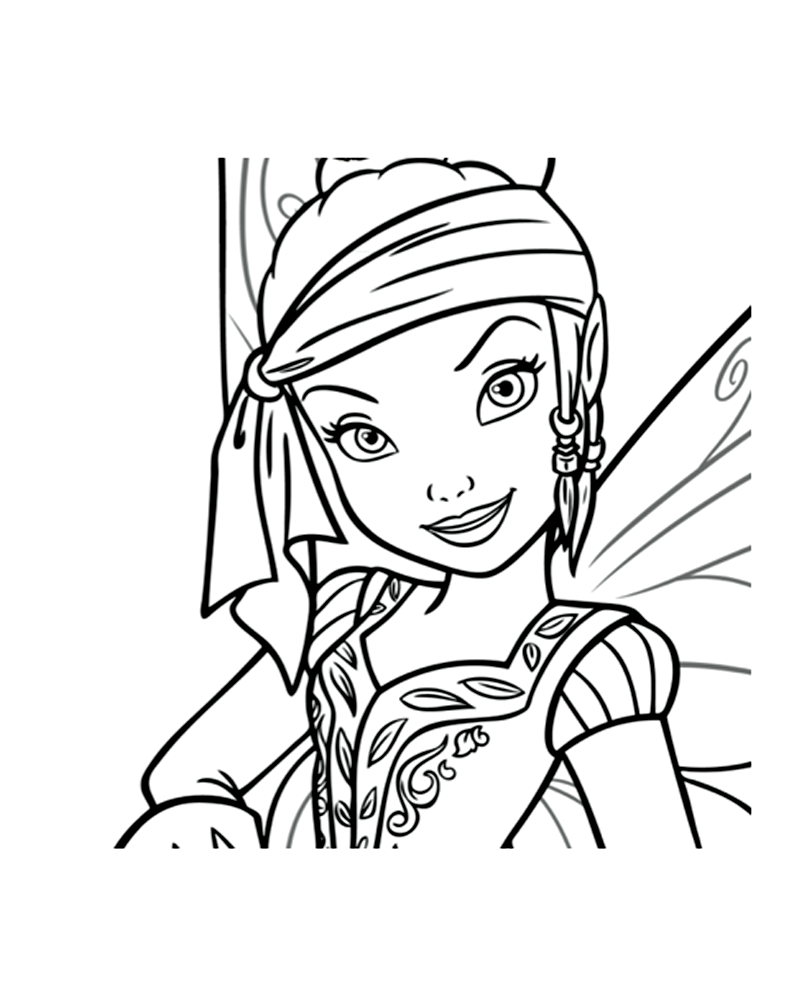 Simple Tincker Bell coloring page for children